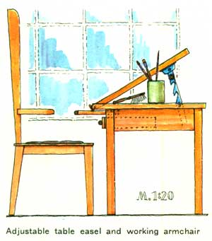 Adjustable table easel and working armchair