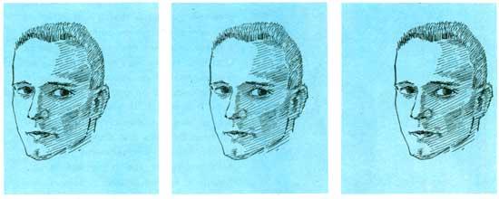 series of heads that invoke motion.