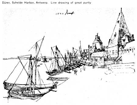 line drawing from Antwerp harbor