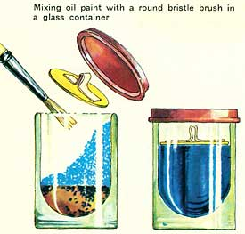 Mixing oil paint with a round bristle brush in a glass container