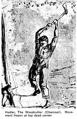 Hodler, The Woodcutter (Charcoal). movement frozen at top dead center